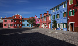 Colorful square in Burano Royalty Free Stock Images