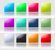Colorful square buttons. A set of dimensional & colorful square buttons with reflections stock illustration