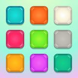 Colorful square buttons set. Vector assets for web or game design vector illustration