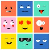 colorful square emoji vector illustration