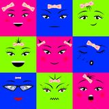 Colorful square emojis icons set different girl faces with bow. Vector illustration royalty free illustration