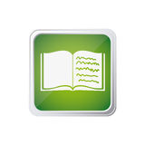 Colorful square frame button with text notebook open Royalty Free Stock Image
