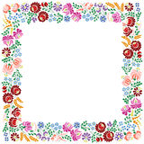 Colorful square frame made from Hungarian embroidery pattern Stock Photography