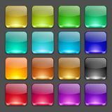 Colorful square glossy buttons Stock Images