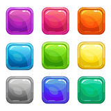 Colorful square glossy buttons set Royalty Free Stock Photography