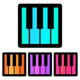 Colorful, square, gradient piano keys icon. Four color variations. Isolated on white Stock Image