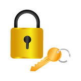 Colorful square padlock with key Stock Image