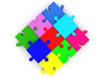 Colorful square of puzzle pieces.3d illustration. In backgrounds Royalty Free Stock Images