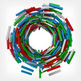 Colorful square rods from center. 3d style vector illustration. Suitable for any banner, ad, technology and abstract themes Stock Photos