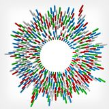 Colorful square rods targetted to center. 3d style vector illustration. Suitable for any banner, ad, technology and abstract themes Royalty Free Stock Photography