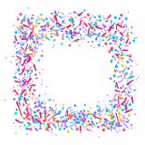 Illustration. Art creation. Colorful square shape. Multicolored confetti in rectangle shape on white. Colored pattern for design. Holiday background with royalty free illustration