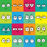 Colorful square stickers emoticons faces with geometrical eyeglasses icons set Stock Image