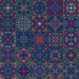 Colorful Square Tiles Seamless pattern. Rich tile ornament in oriental style. Square tile patchwork design. Intricate tile pattern. Boho chic tile pattern for Stock Images