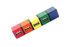 Colorful Square USB Hubs  Royalty Free Stock Image