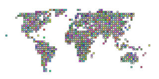Colorful squared world map. Stylized squared world map with various colors vector illustration