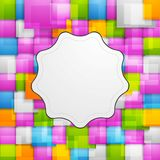 Colorful squares background and retro label Royalty Free Stock Photography