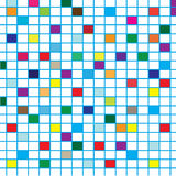 Colorful Squares with lines. Colorful square with blue lines isolated on white, can be used as background and textiles.  vector art work Stock Photos