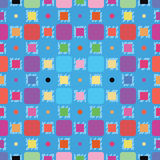 Colorful Squares Pattern. A seamless pattern of a colorful mixture of squares and dots on a blue background Vector Illustration