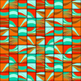 Colorful squares with wavy lines. Seamless pattern. Stock Photography
