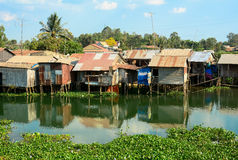 Colorful squatter shacks and houses in Saigon Royalty Free Stock Photography