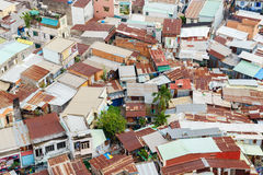 Colorful squatter shacks and houses in a Slum Urban Area in Saigon, Vietnam. Royalty Free Stock Photography
