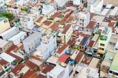 Colorful squatter shacks and houses in a Slum Urban Area in Saigon, Vietnam. Royalty Free Stock Image