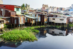 Colorful squatter shacks at Slum Urban Area in Ho Chi Minh city, Vietnam Stock Image