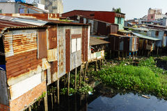 Colorful squatter shacks at Slum Urban Area in Ho Chi Minh city, Vietnam Stock Photo