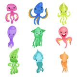 Colorful squids and octopuses set, sea creatures cartoon vector Illustrations. On a white background Stock Image