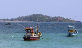 Colorful Sri Lankan Fishing Boats Royalty Free Stock Images