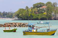 Colorful Sri Lankan Fishing Boats 4 Stock Images
