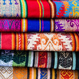 Colorful stack of blankets Stock Photo