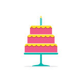 Colorful Stack Cake With A Candle. Vector Illustration Royalty Free Stock Images