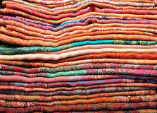 Colorful stack of cloth fabrics Royalty Free Stock Images