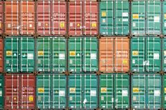Colorful stack of container in industrial port.  stock photo