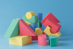 Colorful stack of cube building blocks Stock Photo
