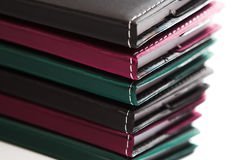 Colorful stack of notebooks close up Royalty Free Stock Images