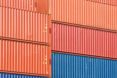Colorful stack pattern of cargo shipping containers Royalty Free Stock Photography