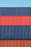 Colorful stack pattern of cargo shipping containers Royalty Free Stock Image