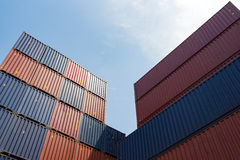Colorful stack pattern of cargo shipping containers Stock Images