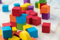 Colorful stack of wood cube building blocks.  royalty free stock photo
