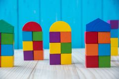 Colorful stack of wood cube building blocks.  royalty free stock photography