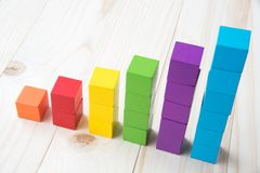 Colorful stack of wood cube building blocks.  stock images
