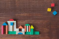 Colorful stack of wood cube building blocks royalty free stock image