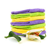 Colorful stacked bathroom towels Stock Images