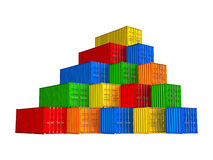 Colorful stacked cargo containers Royalty Free Stock Photo