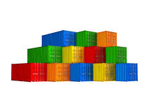 Colorful stacked cargo containers Royalty Free Stock Images