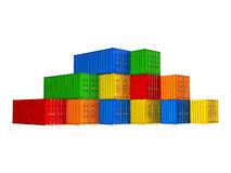 Colorful stacked cargo containers Stock Photography