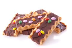 Colorful stacked chocolate cookies Royalty Free Stock Photo