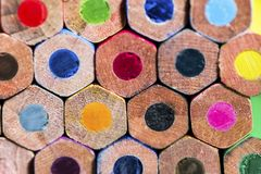 Colorful stacked crayons, macro shoot stock photography